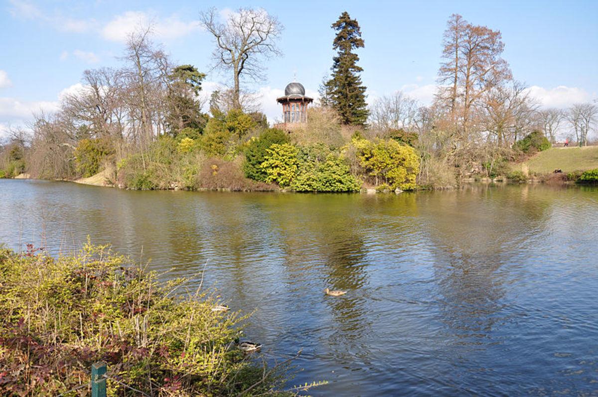 Kiosque de l'Empereur in the Bois de Boulogne at 16th district of Paris. Located at island on Lac Inférieur, built during the arrangement of the Bois de Boulogne in 1852 on the request of Napoleon III by the architect Gabriel Davioud.