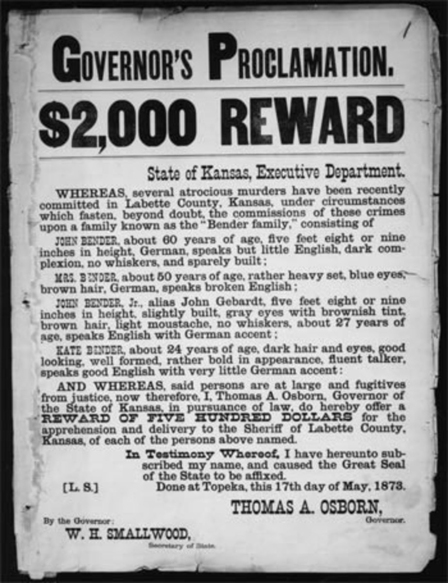 The Benders Official Wanted Poster Issued By The Governor of Kansas