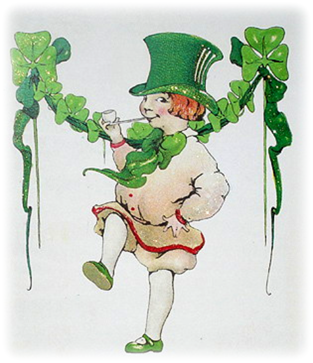 Little vintage boy in green top hat dancing, shamrock garland