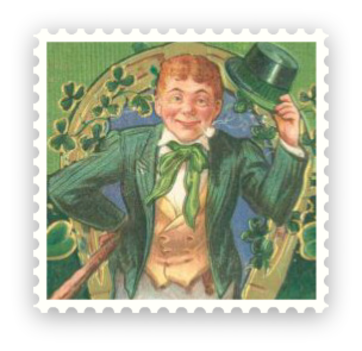 Free vintage St. Patrick's Day clip art -- leprechaun with green top hat