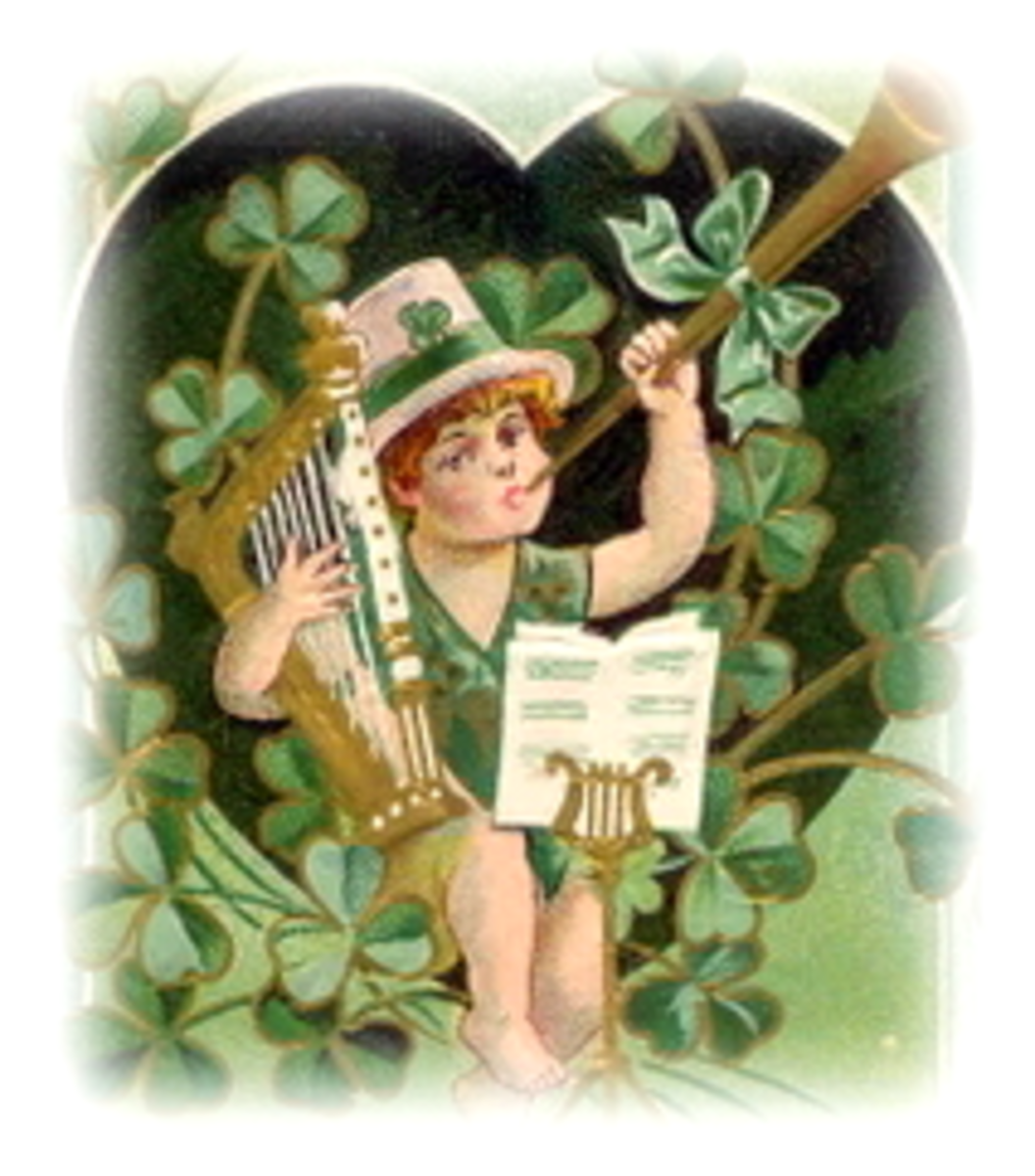 vintage St. Patrick's Day clip art -- little boy with top hat, musical instruments and shamrocks