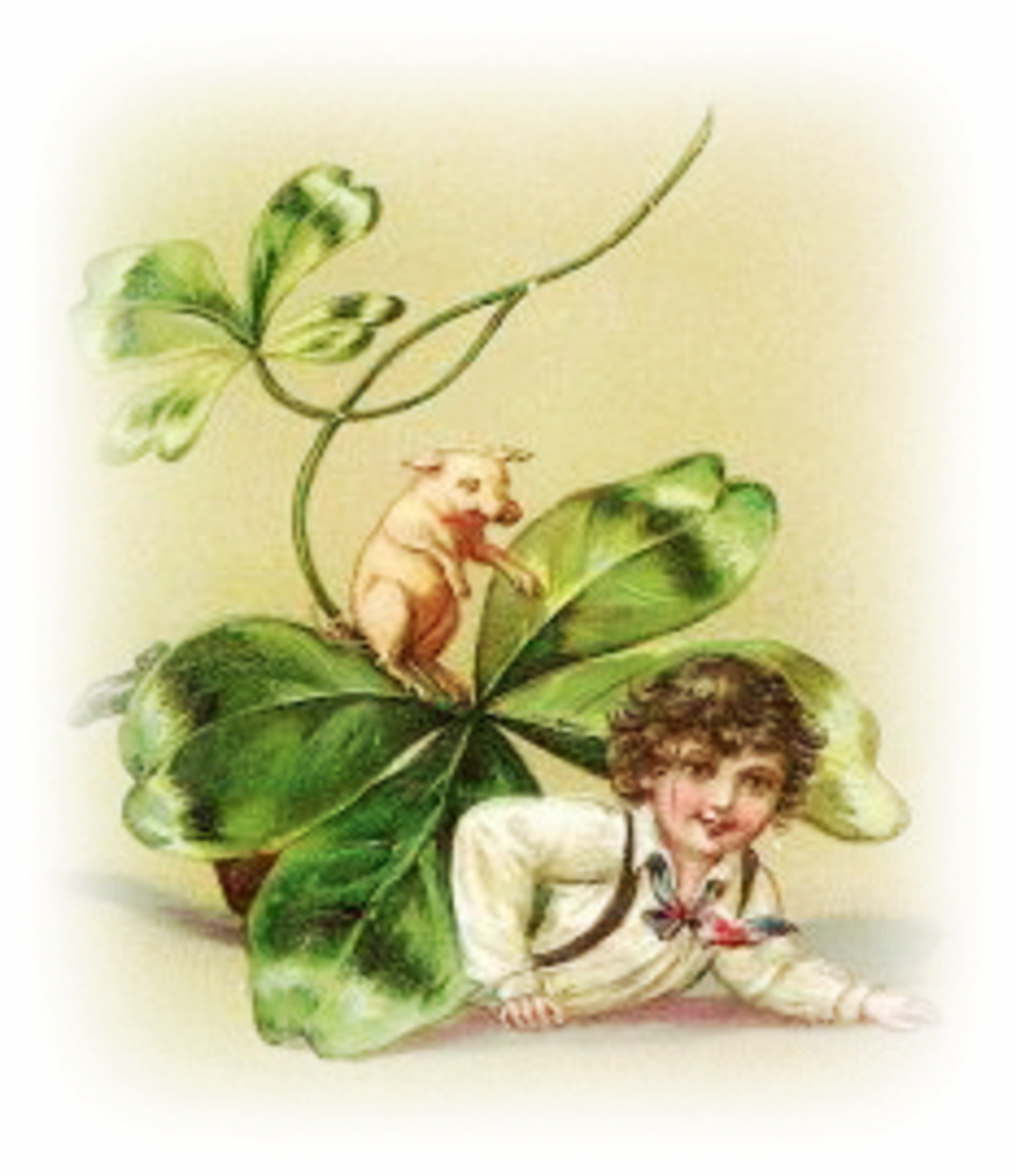 Little boy under shamrock with pig vintage St. Patrick's Day clip art