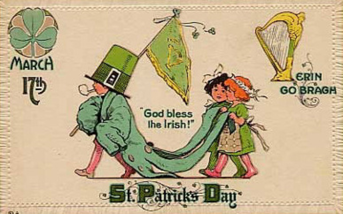 "Vintage kids: Children celebrating St. Patrick's Day with a parade ""God Bless the Irish!"""
