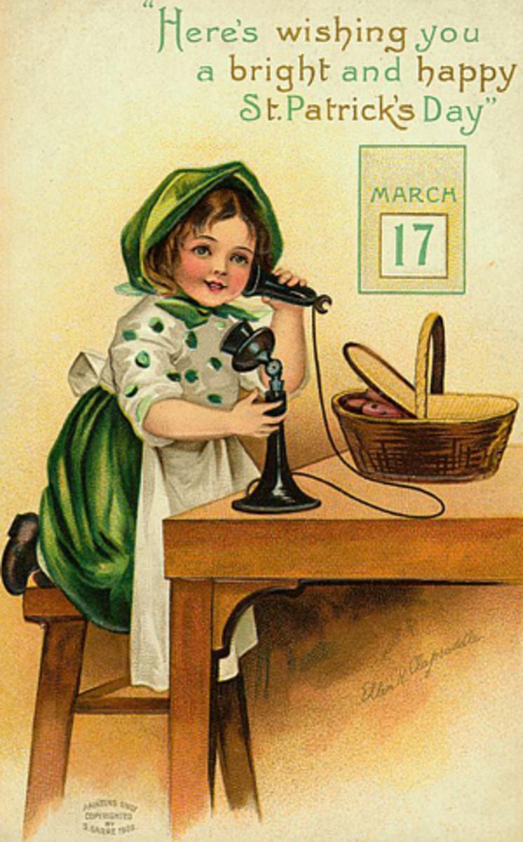 "Vintage kids: Little girl dressed for St. Patrick's Day talking on an antique phone ""Here's wishing you a bright and happy St. Patrick's Day"""