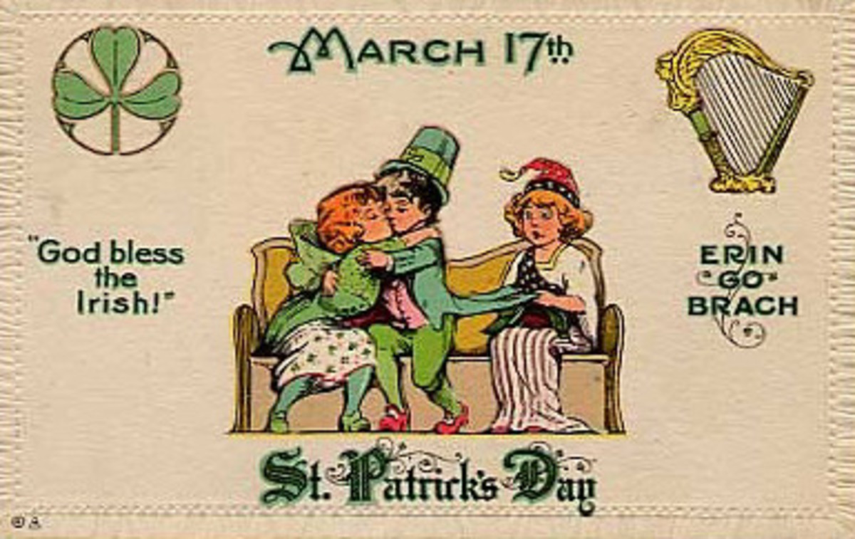 "Vintage children: Irish kids kissing while Lady Liberty watches ""Erin go Bragh"""