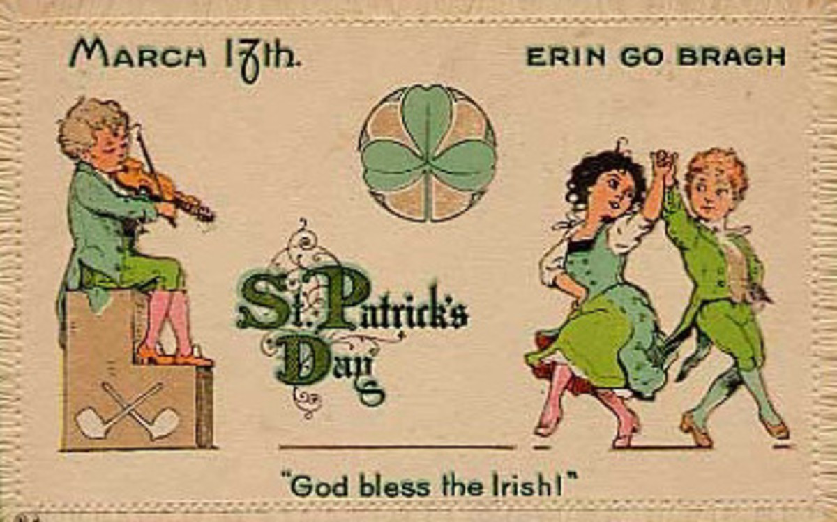 Vintage cute kids: A fiddler plays while vintage kids dance  on St. Patrick's Day