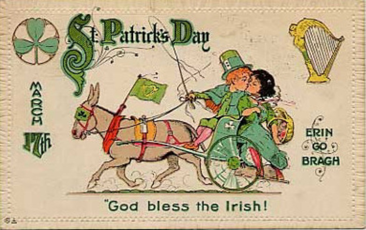 "Vintage kids: Boy and girl kissing while riding in a donkey cart ""Erin go Bragh"""