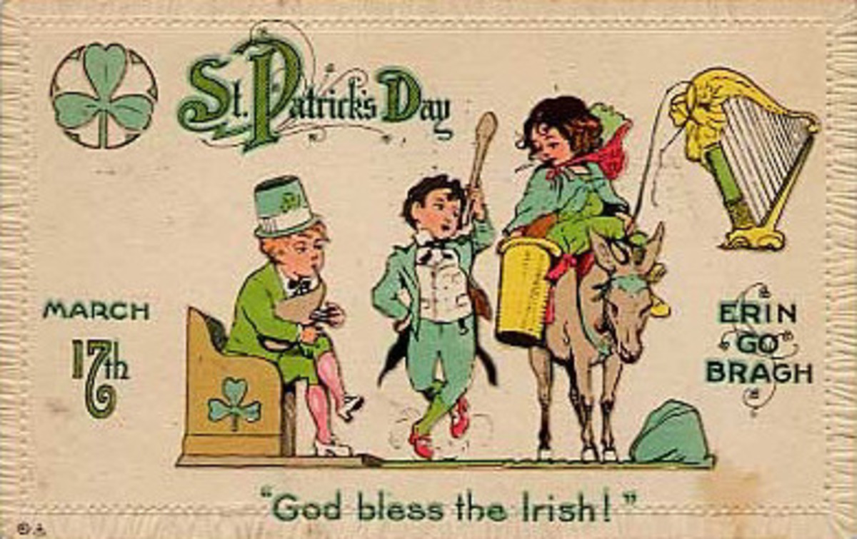 "Vintage children: three kids celebrating St. Patrick's Day ""God bless the Irish"""