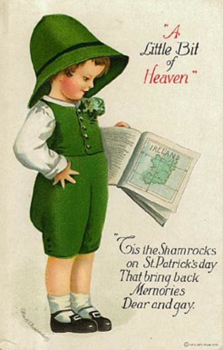 "Vintage kids: Little boy in green short overalls, reading ""A little bit of Heaven"" ""Tis the shamrocks on St. Patrick's Day that bring back memories dear and gay"""