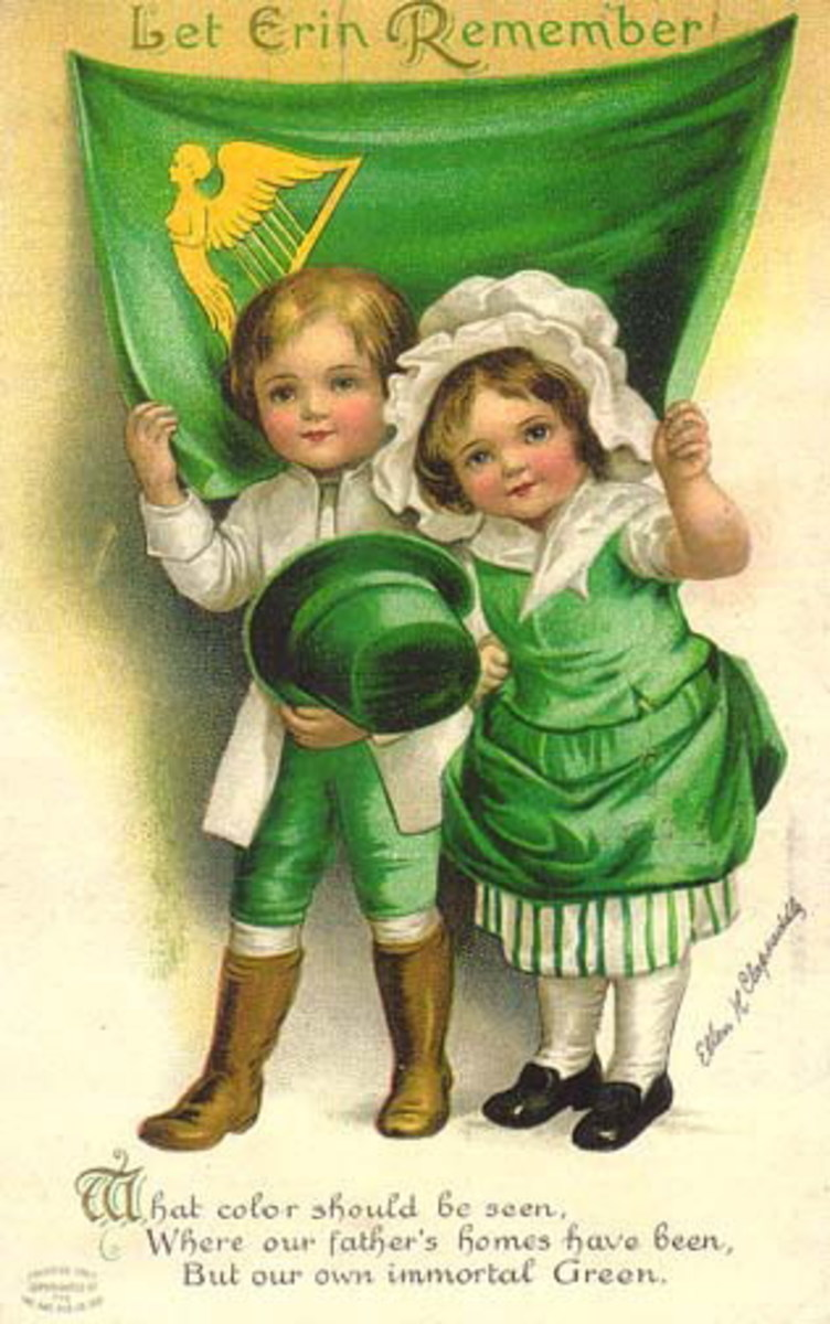 "St. Patrick's Day vintage greeting cards: Two cute kids holding green top hat in front of Irish flag ""Let Erin Remember"""