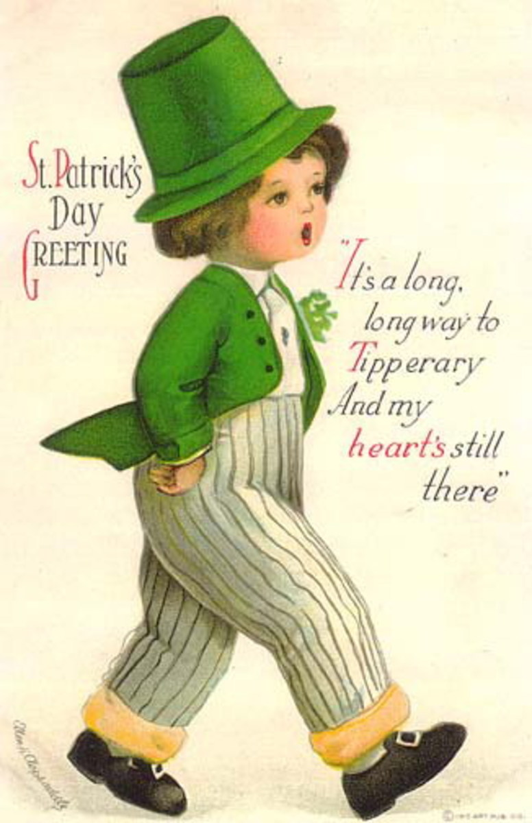 "Vintage cute kids: Little boy singing It's a long, long way to Tipperary ""St.Patrick's Day Greeting"""