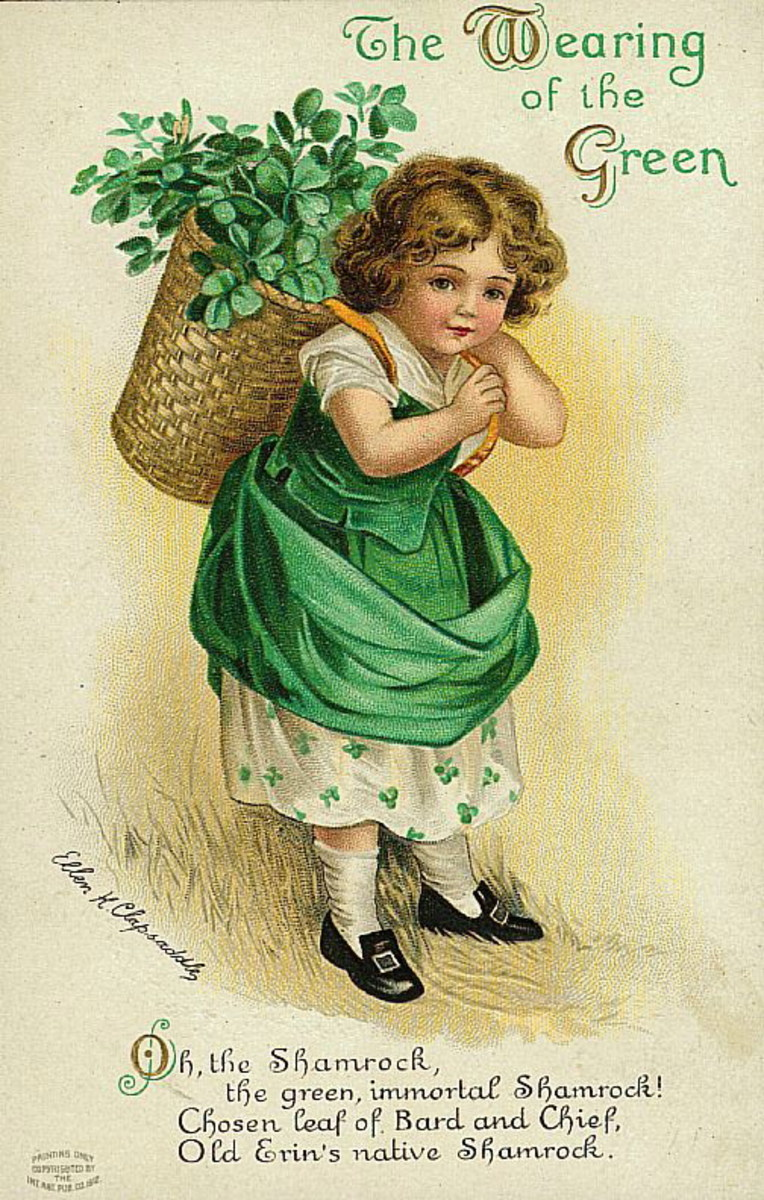 "Vintage cute kids: Little girl dressed in green and carrying a basket of shamrocks ""The wearing of the green"""