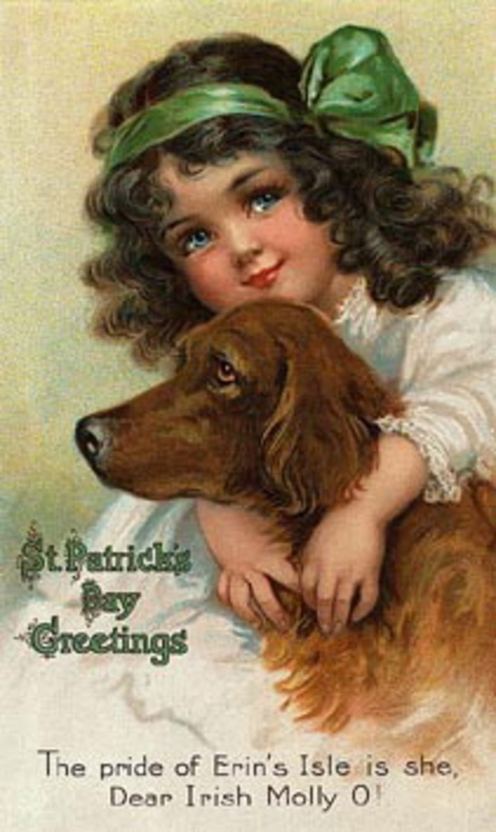 "Vintage cute kids: Irish girl with Irish setter dog ""The pride of Erin's Isle is she, Dear Irish Molly O!"""