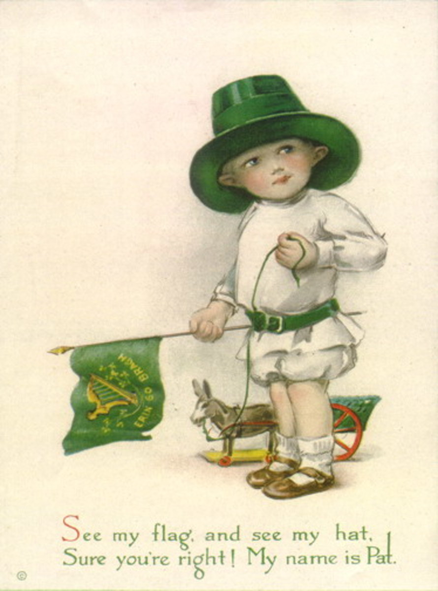 "Vintage children: Little boy in green top hat waving Irish flag ""See my flag, see my hat. Sure you're right! My name is Pat."""