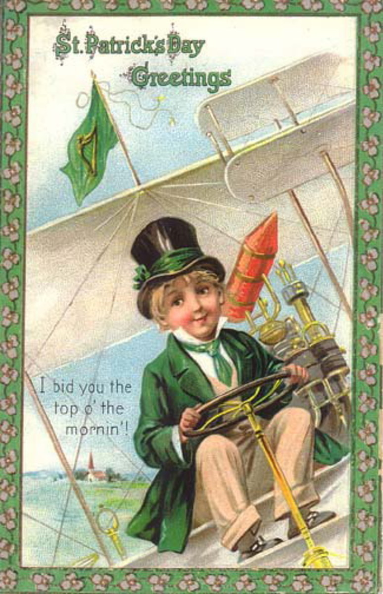 "Vintage children: Little boy in green jacket and green top hat flying an airplane ""I bid you top 'o the mornin'"""