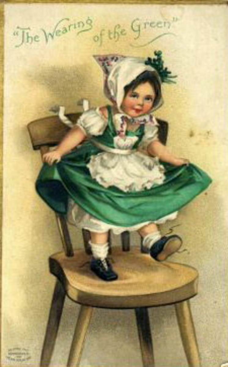 "Vintage children: Little girl dancing on a chair ""The wearing of the green"""