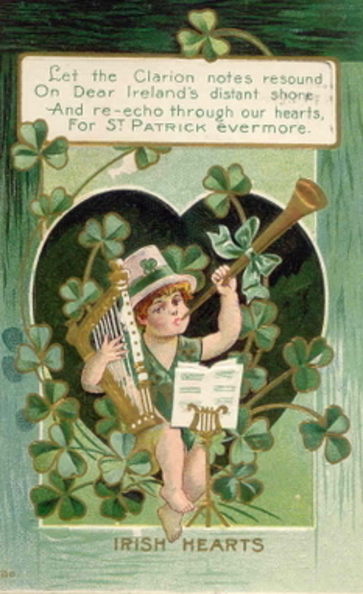 "Vintage cute kids: Little boy with musical instruments and shamrocks ""Let the clarion notes resound on Dear Ireland's distant shore..."""