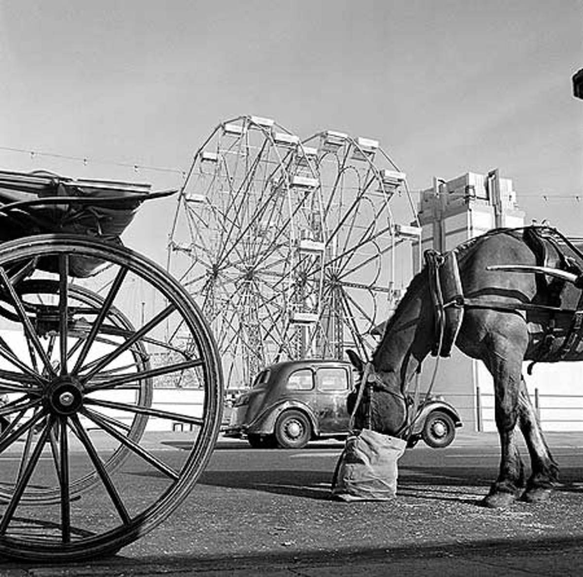 This picture of Blackpool Pleasure Beach was taken between 1946 and 1955, it is one of the most popular attractions in England, and offers rides such as the double ferris wheel seen here. A horse-drawn carriage along the promenade provides a more sed