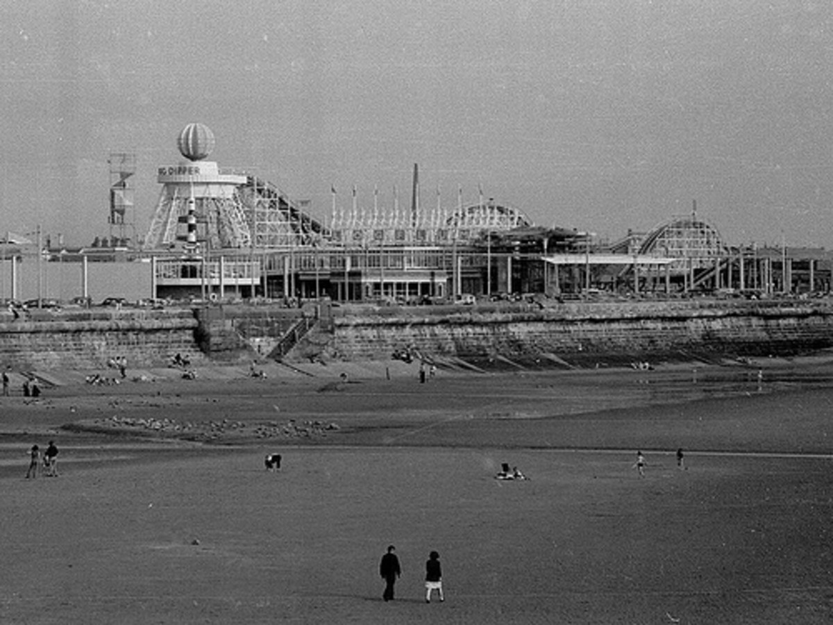 The Pleasure Beach south half is dominated by the Big Dipper of 1924. The Space Tower has yet to be erected, its site not yet developed as Watson Road has not yet been covered and has to be crossed at this stage. The latest ride is the Log Flume and