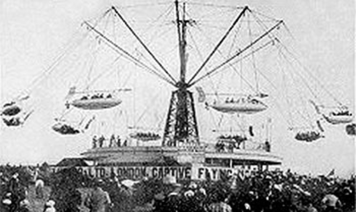 Blackpool Pleasure Beach - Sir Hiram Maxim's Captive Flying machine 1904