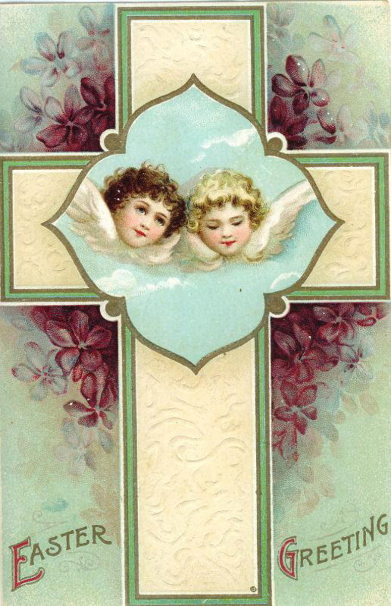 Two angels on a cross Easter card