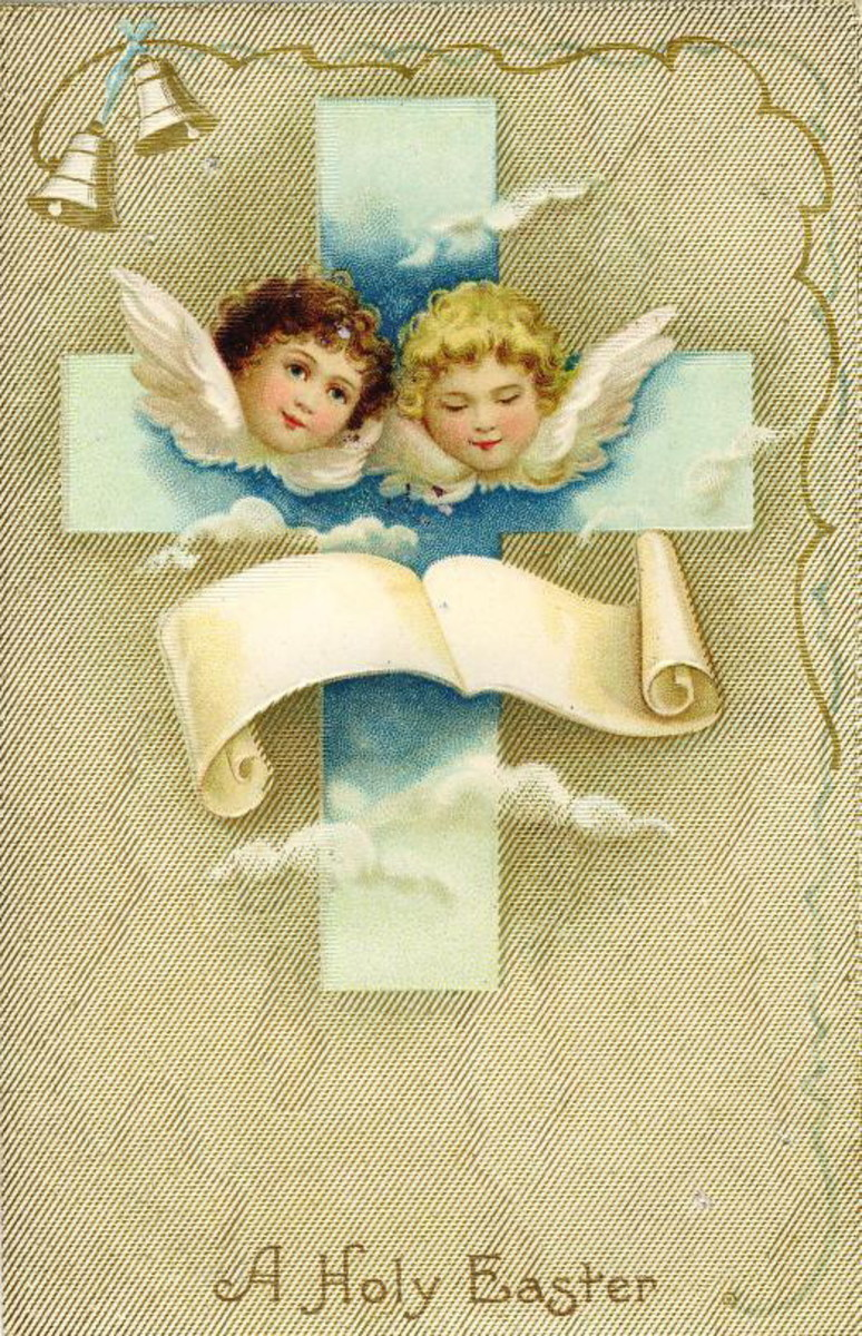 Two Easter angels on a cross with  burlap background