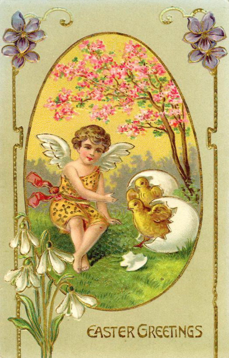 Vintage Easter angel with chick and broken eggshell