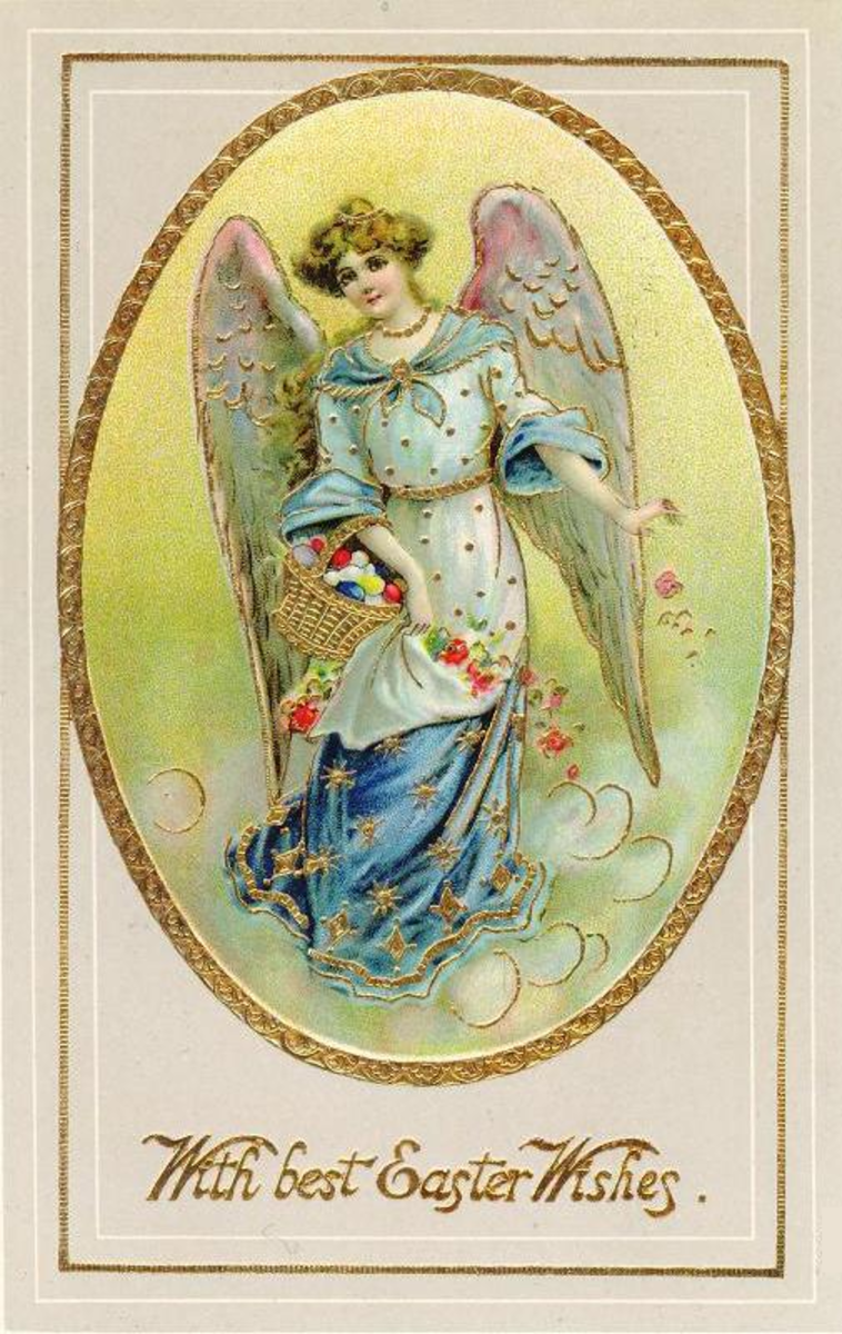 Victorian Easter angel card with gold accents