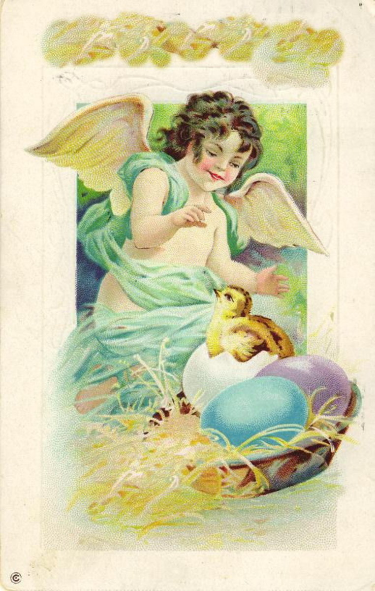 Pastel vintage Easter angel with blue wings, Easter eggs and baby chick
