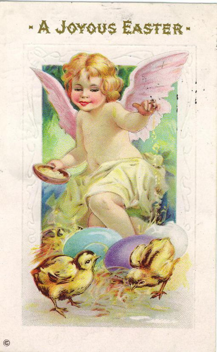 Pastel vintage Easter angel with pink wings, Easter eggs and baby chicks