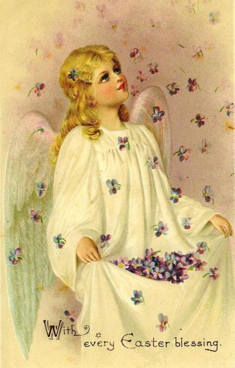 Vintage Easter angel being showered with violets