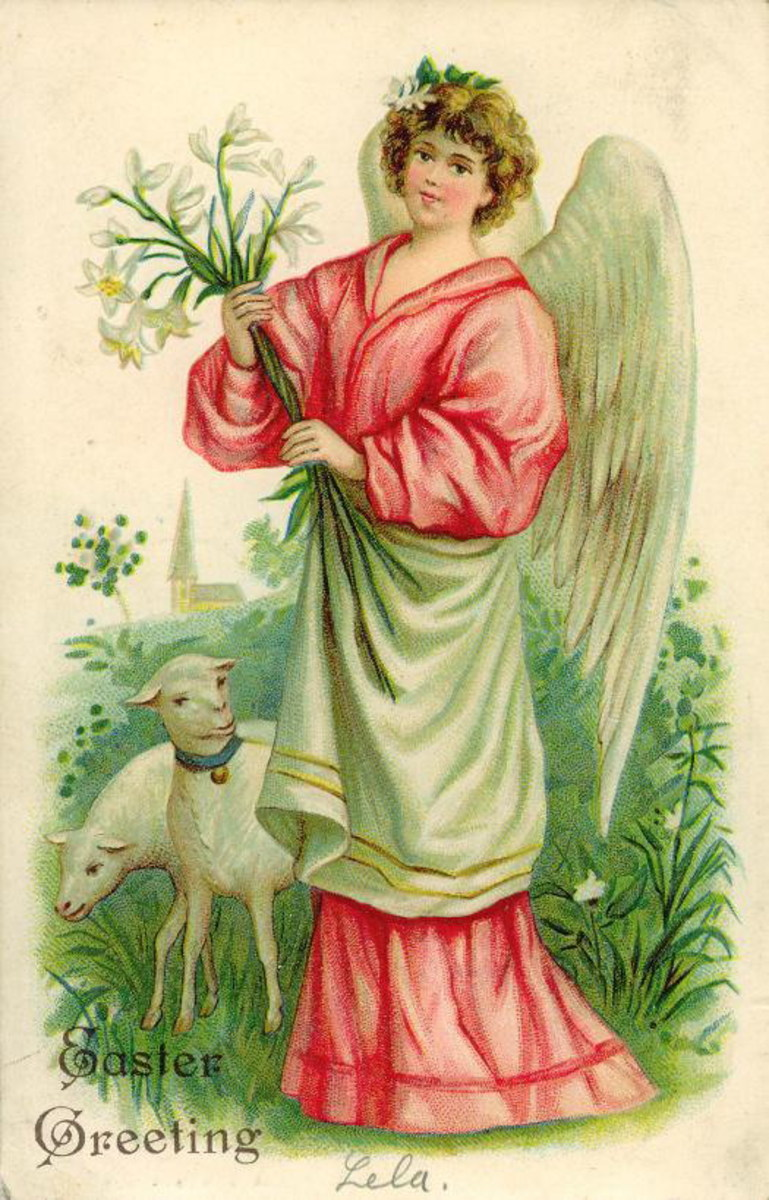 Vintage Easter angel card with lilies and lambs