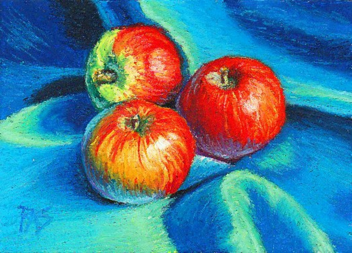 Apples in Blue Silk by Robert A. Sloan using Erengi Art Aspirer oil pastels on watercolor paper primed with Colourfix clear sanded pastel primer.
