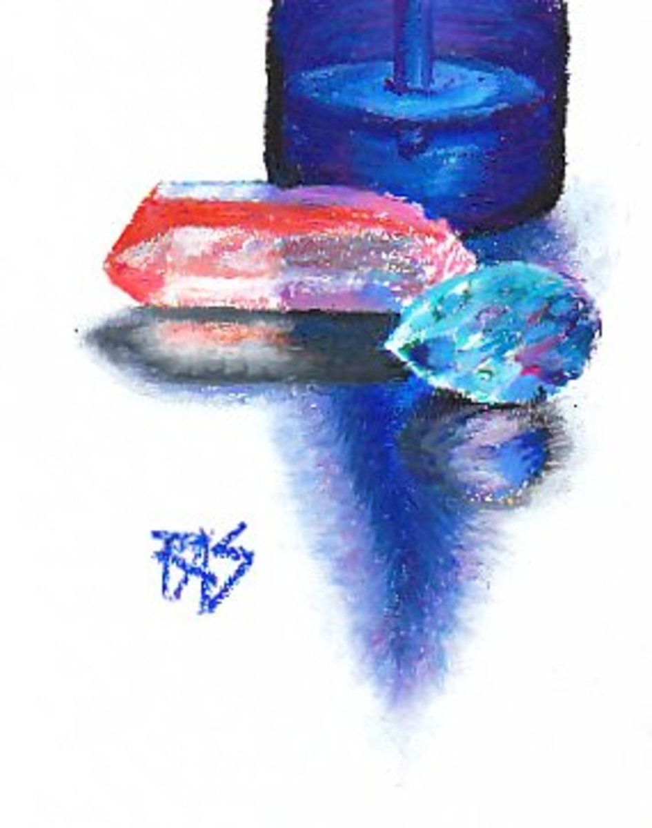 Bottle, Quartz, Aquamarine in Pentel oil pastels on sketchbook paper by Robert A. Sloan -- great detail and luminosity can be done even with inexpensive oil pastels!