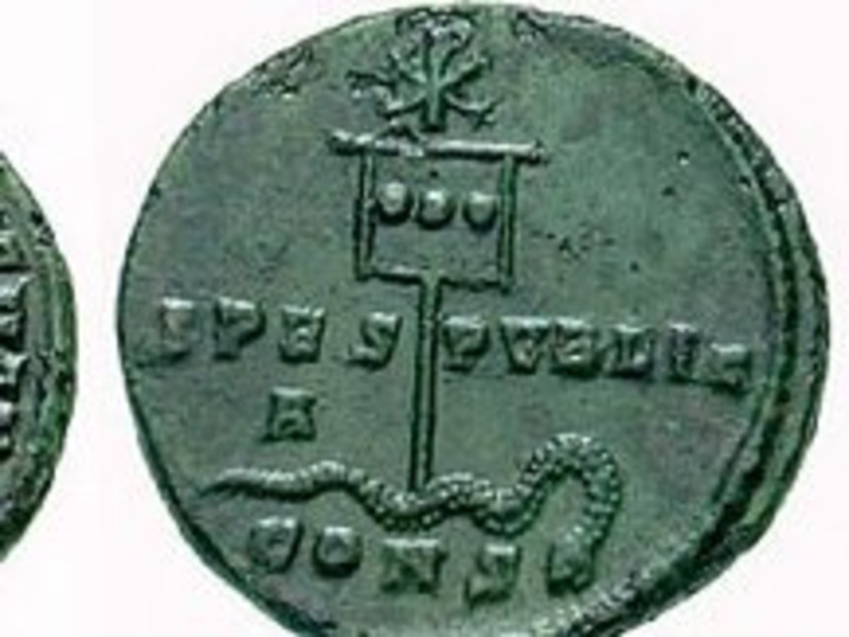 Chi Rho. A coin of Constantine (c.337) showing a depiction of his labarum