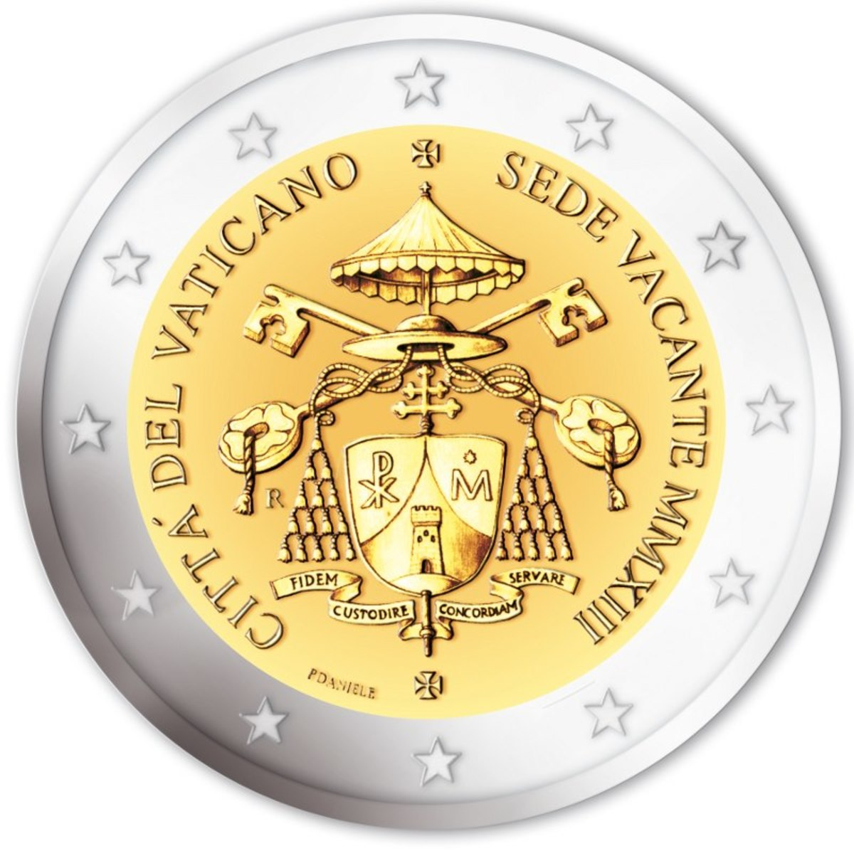 Preview of the new coin of the Vatican. Notice the Chi-Rho in the shield. Also notice that the whole emblem is a chi-Rho.