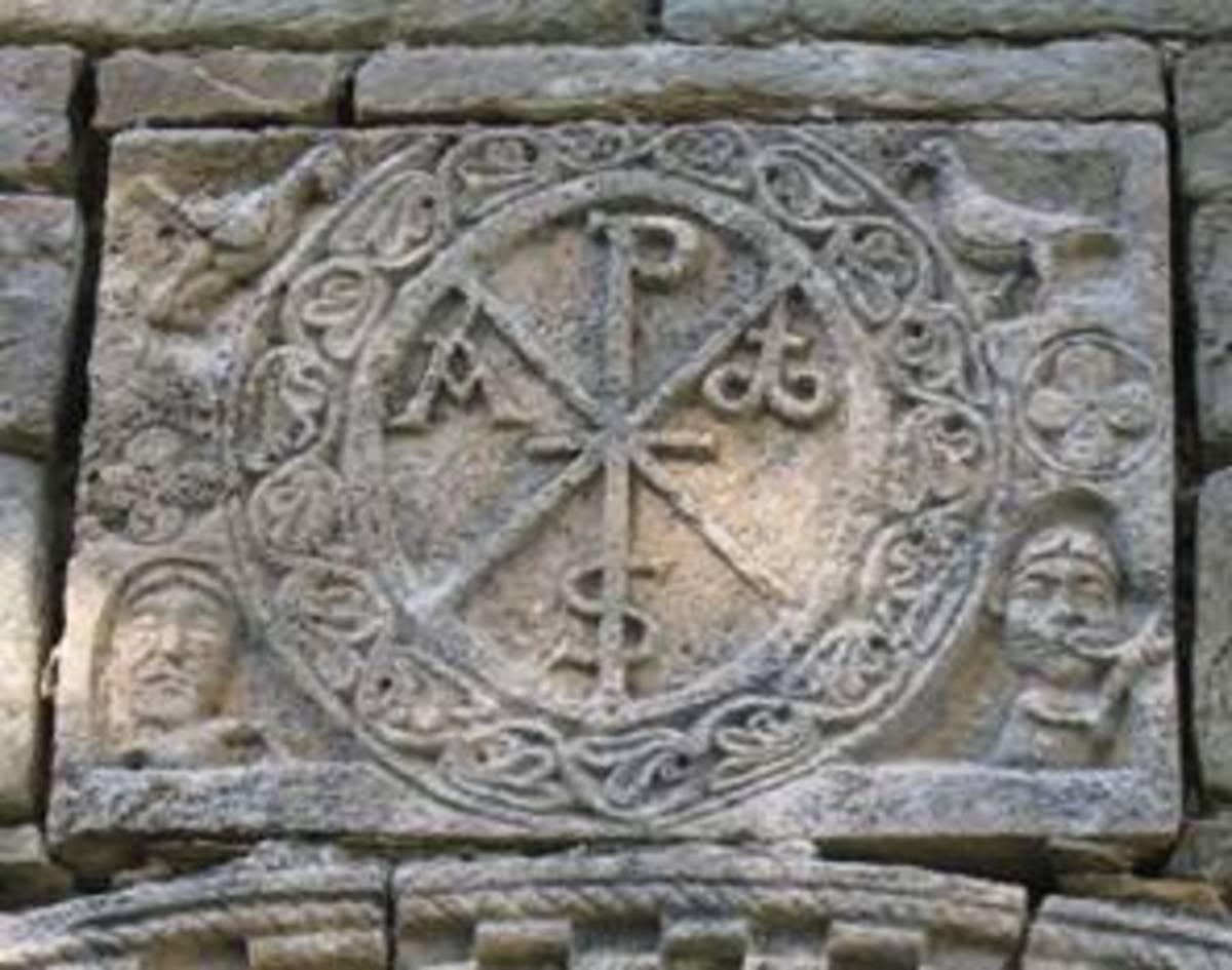 Monogram carved in stone