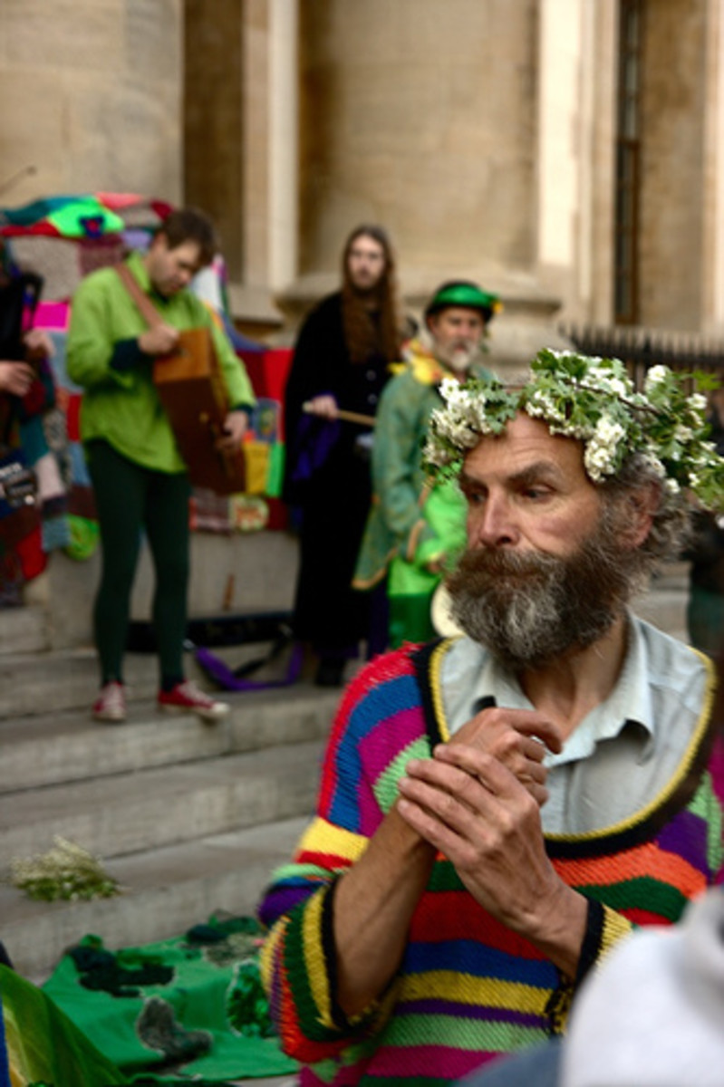 """May Day floral wreaths from """"Bringing in the May"""" copyright Matthias Rosenkranz"""