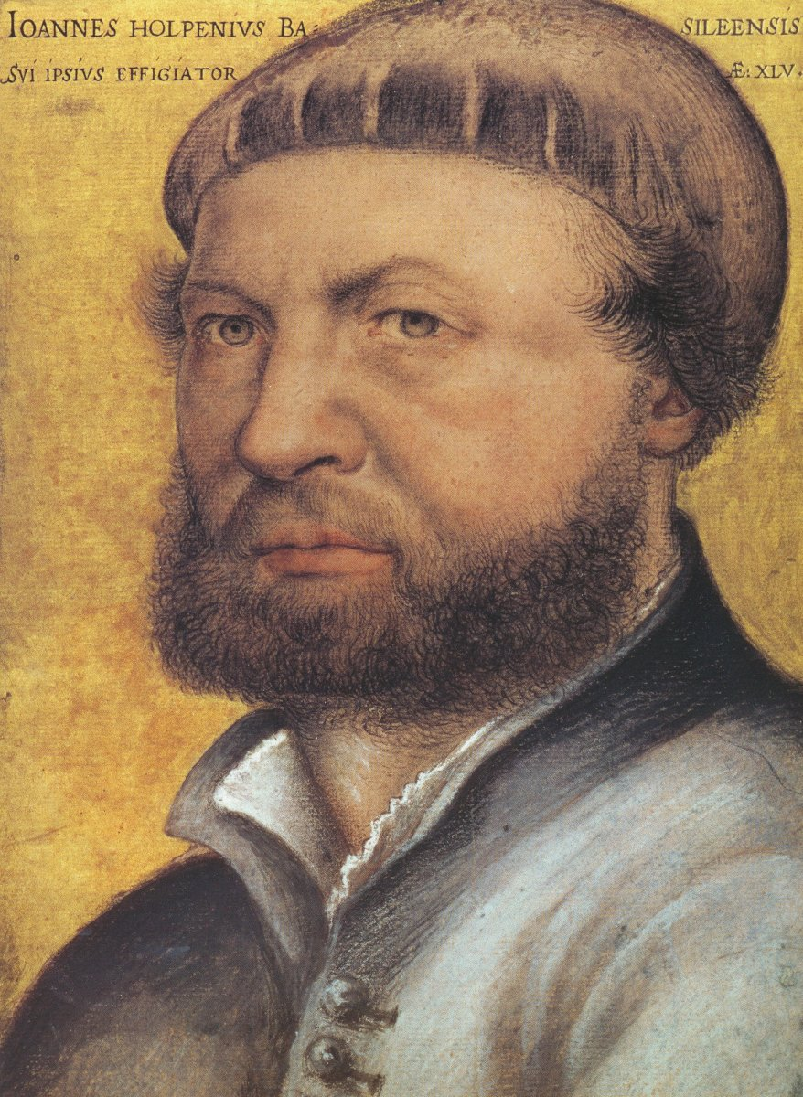 Self Portrait by Hans Holbein the Younger [Public domain], Media: color chalk, pen and gold.  Dimensions Height: 32 cm (12.6 in). Width: 26 cm (10.2 in).