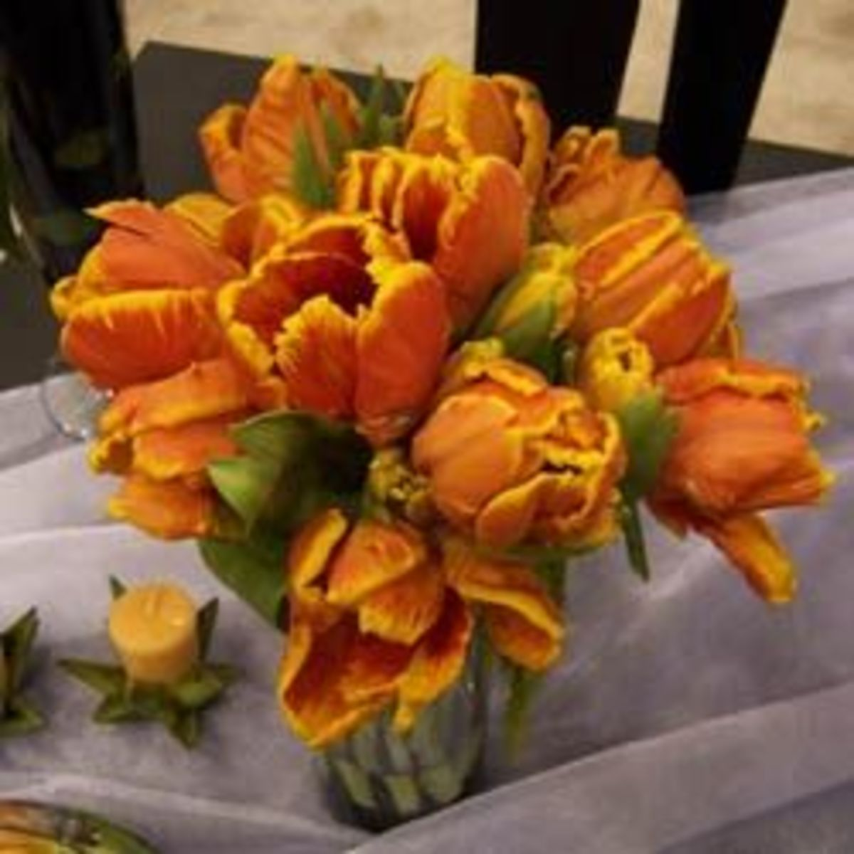 This tulip bridal bouquet can be set in a vase to decorate the head table during the reception.
