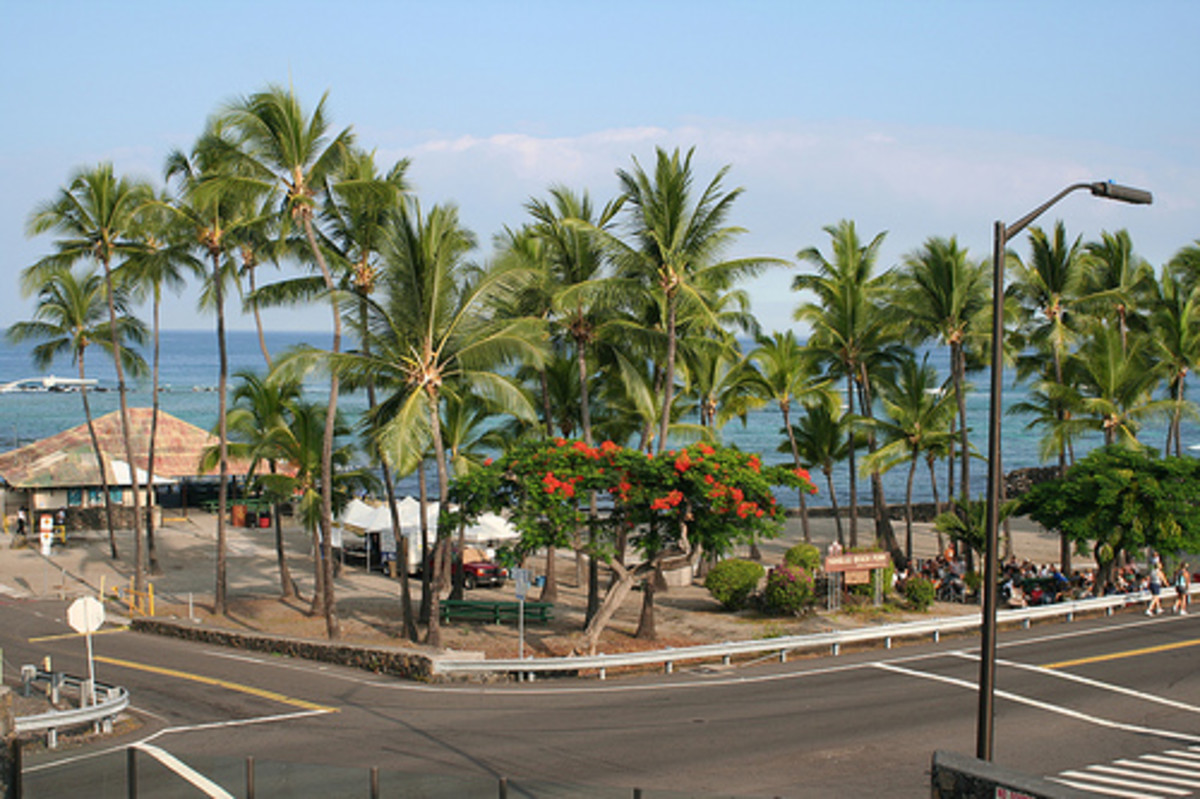 Kahaluu Beach Park Road Entrance from Ali'i Drive.