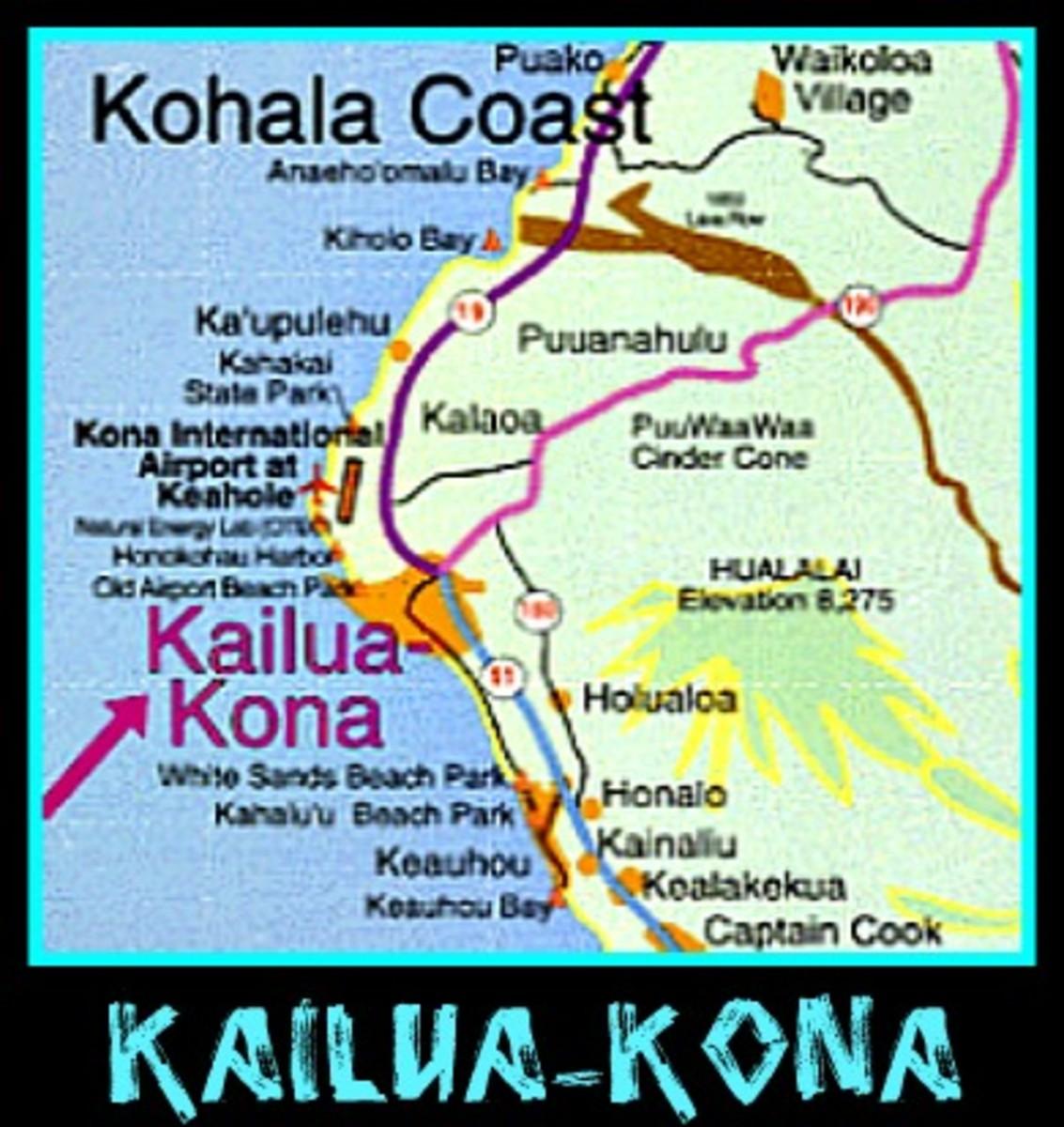 Kailua-Kona, Hawaii Map