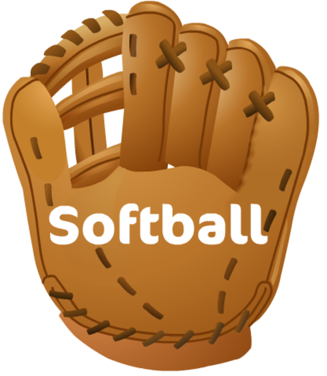 "Free softball clip art: softball glove and ""Softball"" text"