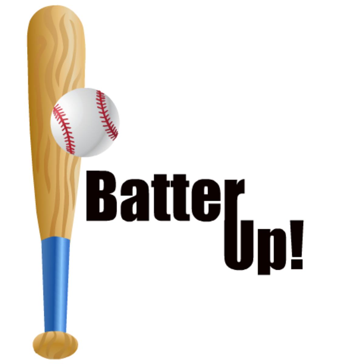 """Baseball bat clip art: bat and ball vertical -- """"Batter Up!"""""""