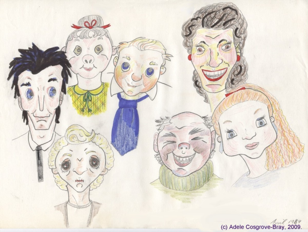 "Cartoon, dated April 1989,  depiction of some of West Cheshire Lad's pupils. ""T"" himself is shown in the middle, wearing his habitual blue tie."