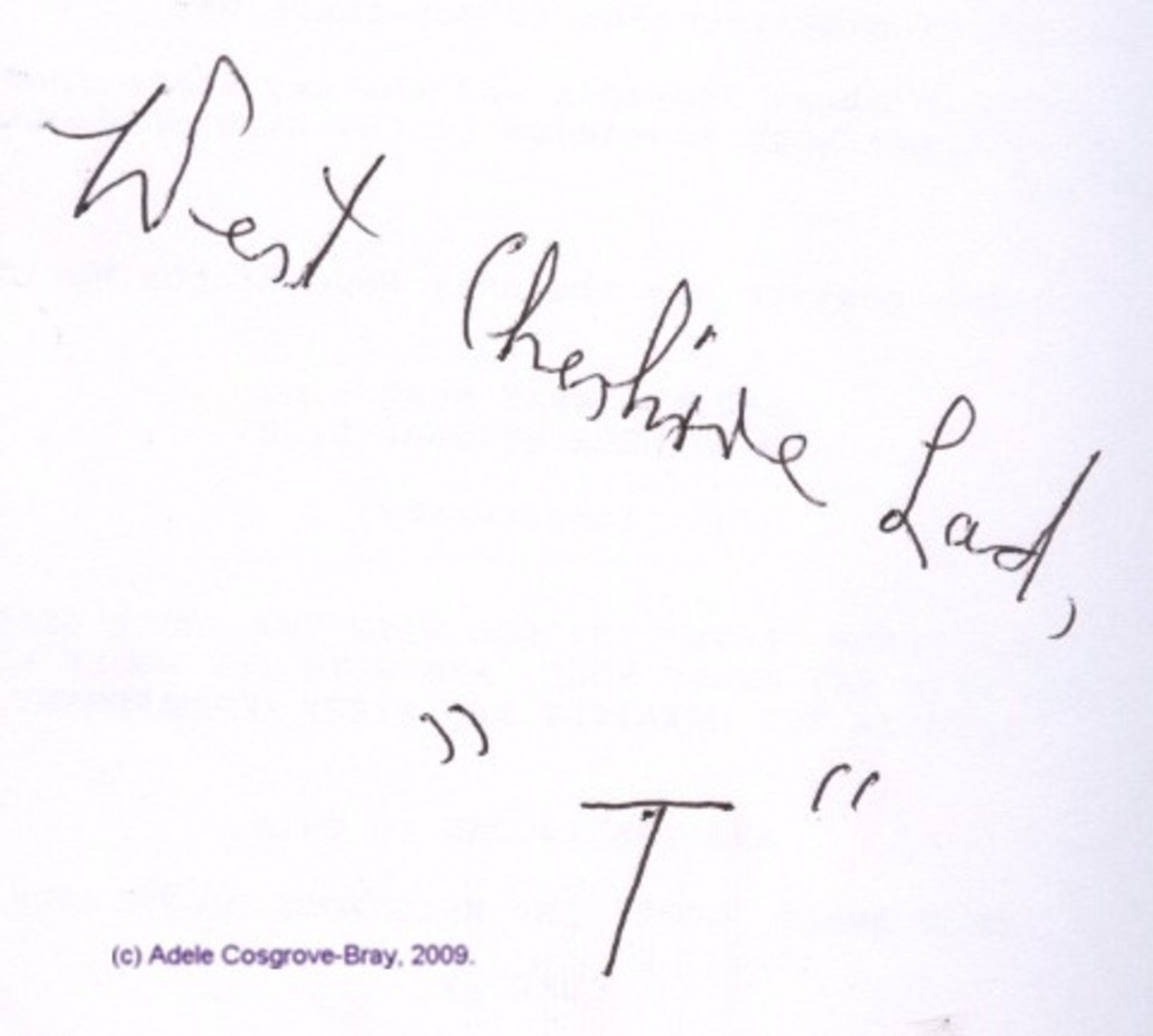 """Inscription from my copy of """"Divine Will"""""""
