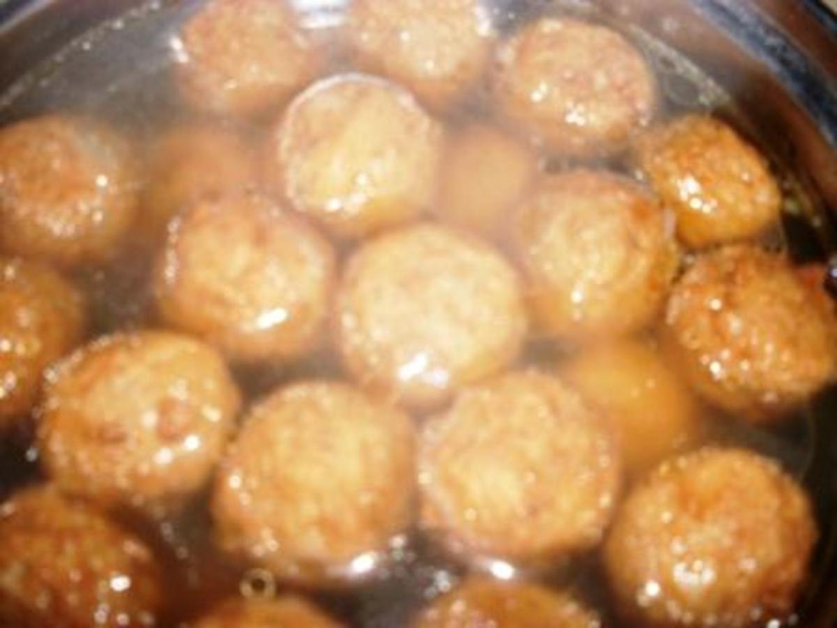 frozen meatballs, heated in boiling water and then drained