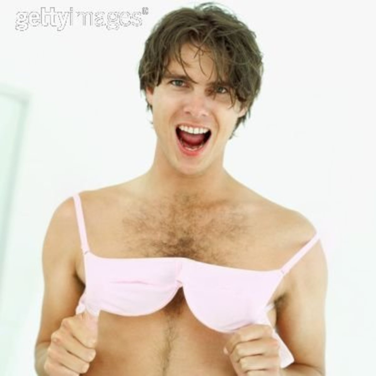 I got this from Getty Images. That's how mainstream men wearing bras is becoming.