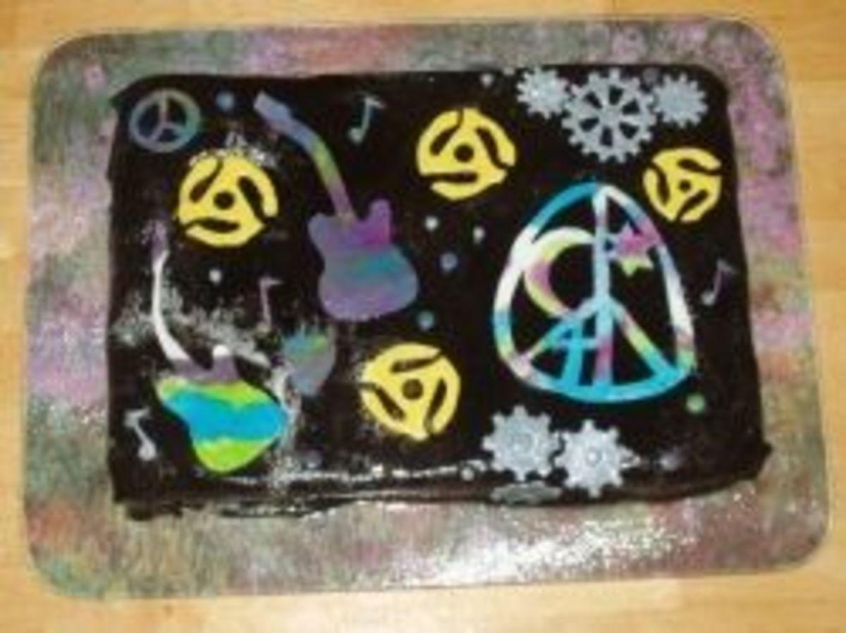 Funky music themed fondant cake