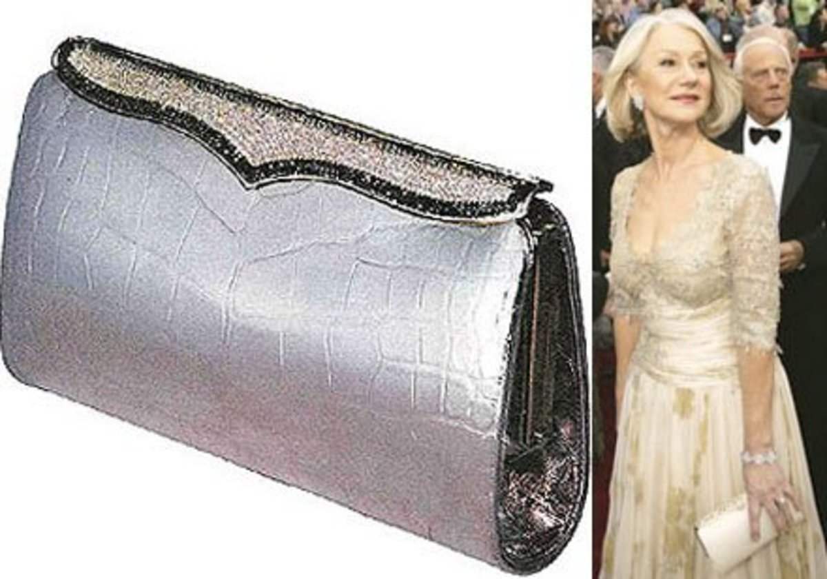 Lana Marks Cleopatra Clutch accompanied by Helen Mirren
